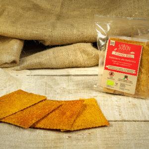 Sobon Sobonacce alla Borbonica con aglio olio e peperoncino, reate con farina integrale di farro italiano macinata a pietra.